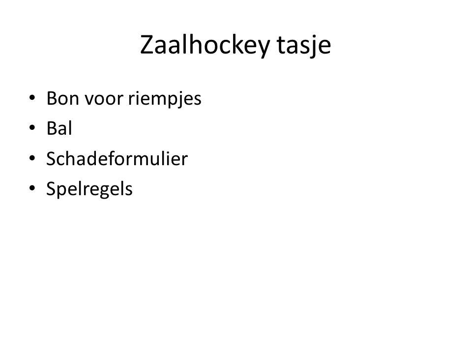 Zaalhockey tasje Bon voor riempjes Bal Schadeformulier Spelregels
