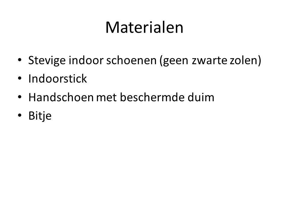 Materialen Stevige indoor schoenen (geen zwarte zolen) Indoorstick Handschoen met beschermde duim Bitje