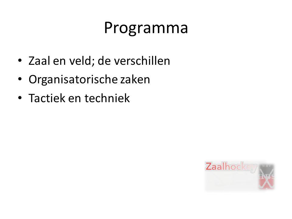 Programma Zaal en veld; de verschillen Organisatorische zaken Tactiek en techniek