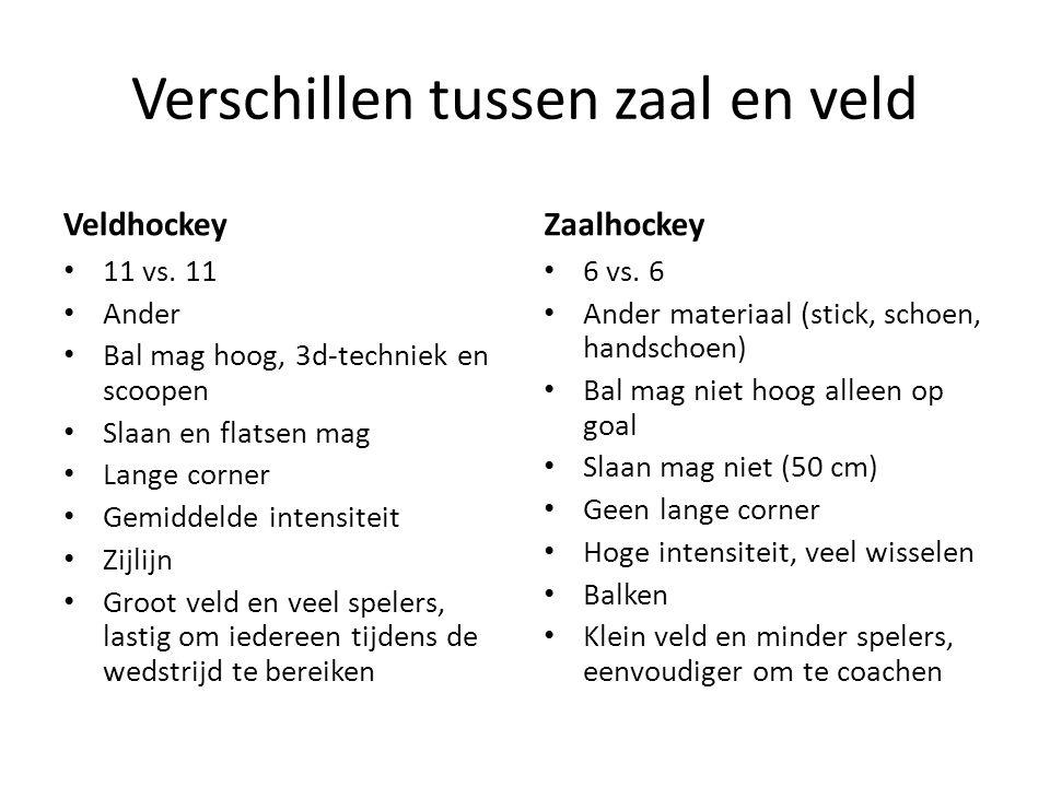 Verschillen tussen zaal en veld Veldhockey 11 vs. 11 Ander Bal mag hoog, 3d-techniek en scoopen Slaan en flatsen mag Lange corner Gemiddelde intensite