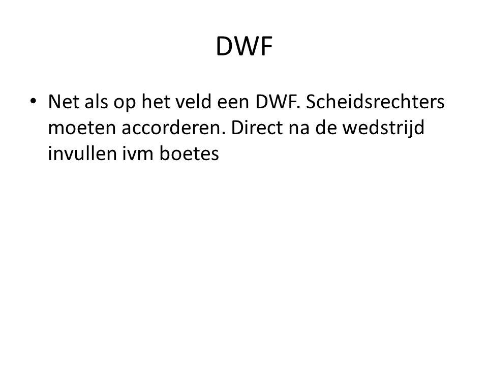 DWF Net als op het veld een DWF. Scheidsrechters moeten accorderen. Direct na de wedstrijd invullen ivm boetes