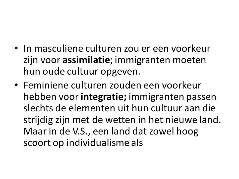 In masculiene culturen zou er een voorkeur zijn voor assimilatie; immigranten moeten hun oude cultuur opgeven.