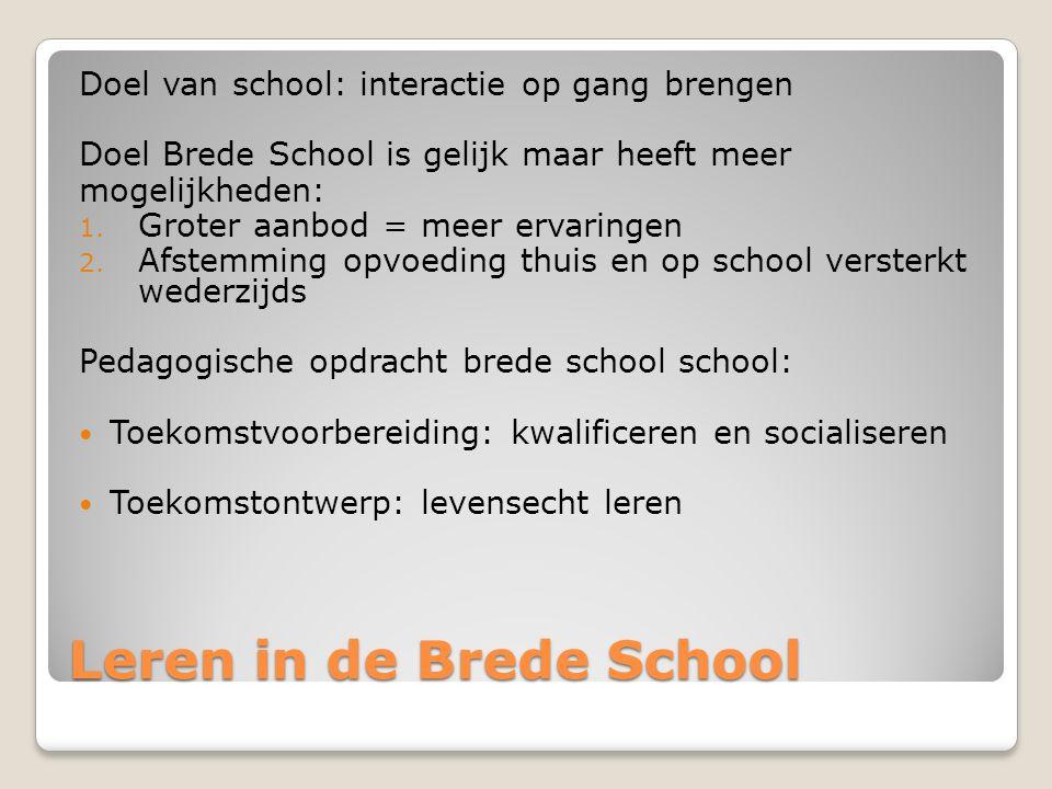 Leren in de Brede School Doel van school: interactie op gang brengen Doel Brede School is gelijk maar heeft meer mogelijkheden: 1.