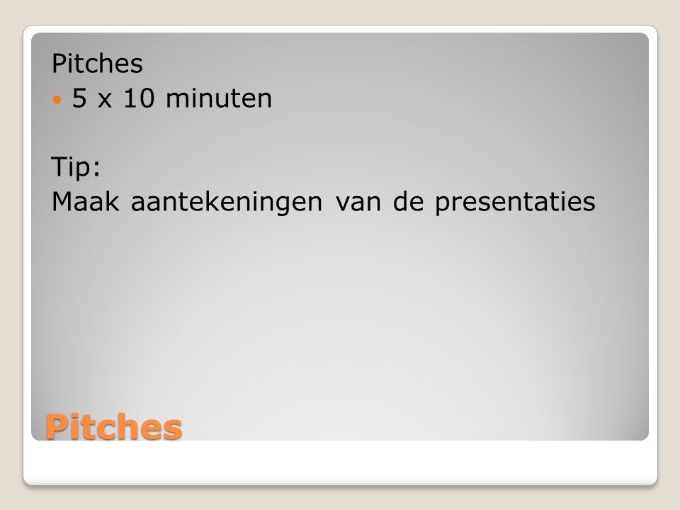 Pitches Pitches 5 x 10 minuten Tip: Maak aantekeningen van de presentaties