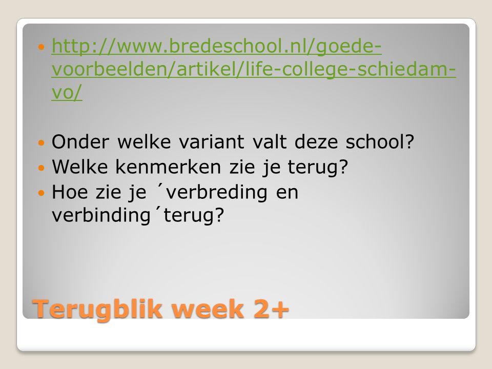 Terugblik week 2+ http://www.bredeschool.nl/goede- voorbeelden/artikel/life-college-schiedam- vo/ http://www.bredeschool.nl/goede- voorbeelden/artikel/life-college-schiedam- vo/ Onder welke variant valt deze school.