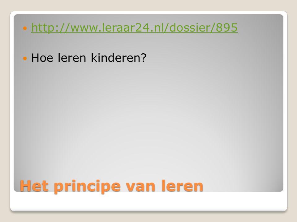 Het principe van leren http://www.leraar24.nl/dossier/895 Hoe leren kinderen?
