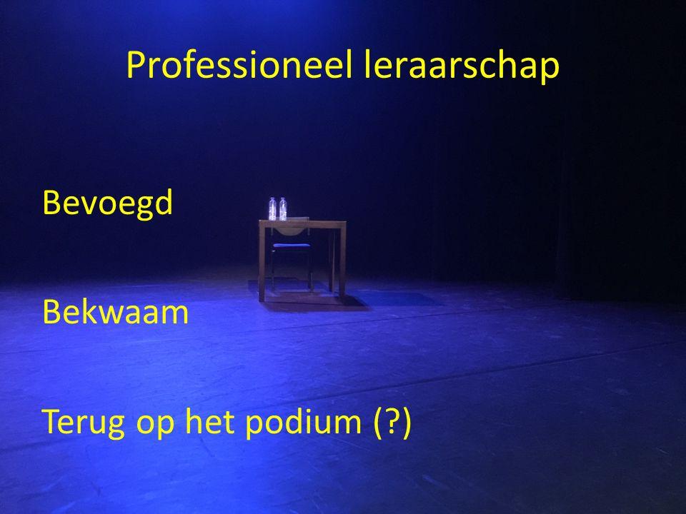 Professioneel leraarschap Bevoegd Bekwaam Terug op het podium (?)