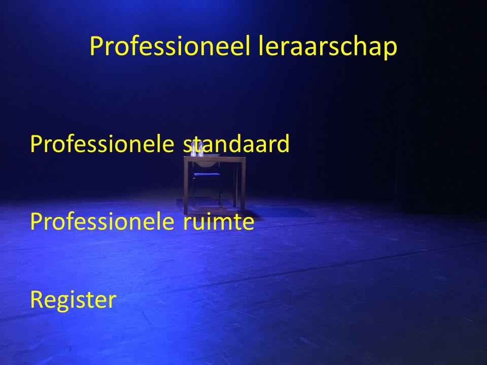 Professioneel leraarschap Professionele standaard Professionele ruimte Register