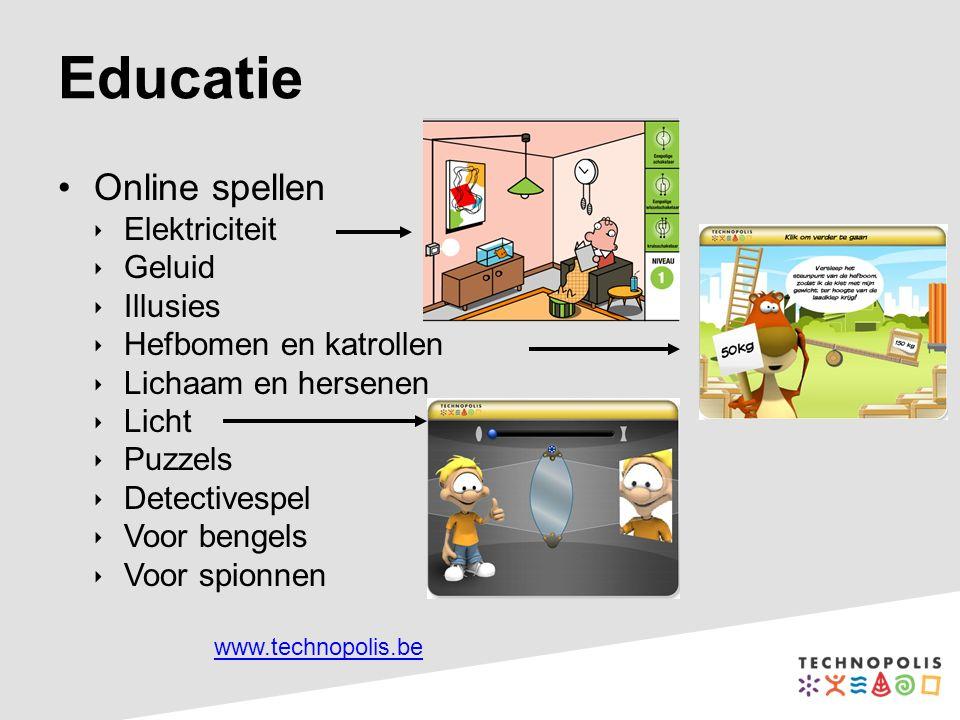 Online spellen  Elektriciteit  Geluid  Illusies  Hefbomen en katrollen  Lichaam en hersenen  Licht  Puzzels  Detectivespel  Voor bengels  Vo