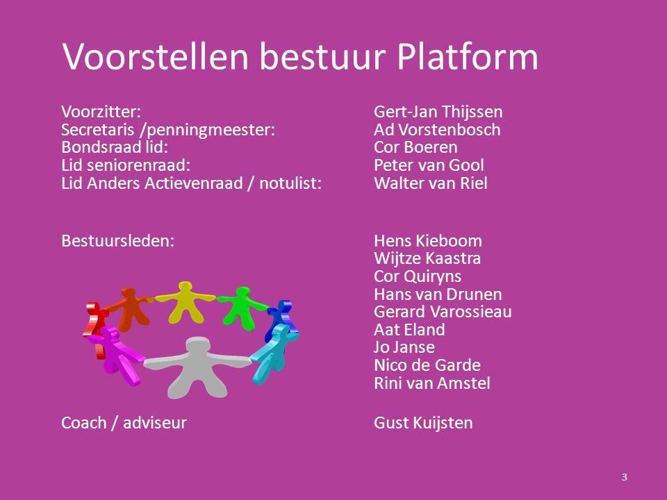 Voorstellen bestuur Platform Voorzitter: Gert-Jan Thijssen Secretaris /penningmeester: Ad Vorstenbosch Bondsraad lid: Cor Boeren Lid seniorenraad: Pet