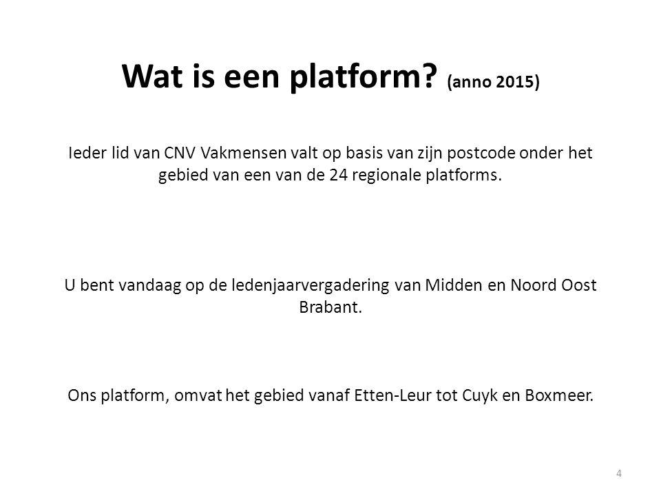 Wat is een platform? (anno 2015) Ieder lid van CNV Vakmensen valt op basis van zijn postcode onder het gebied van een van de 24 regionale platforms. U