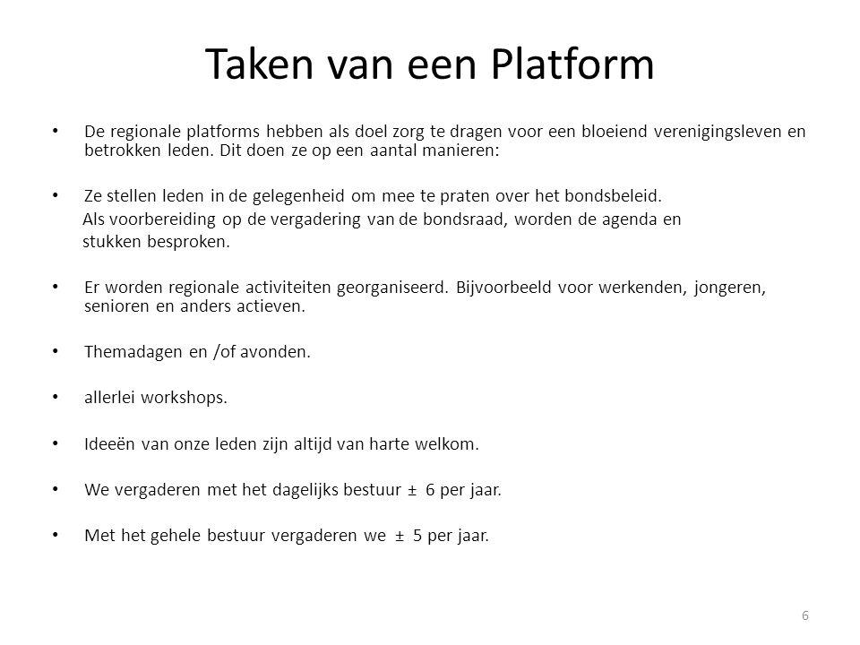 Taken van een Platform De regionale platforms hebben als doel zorg te dragen voor een bloeiend verenigingsleven en betrokken leden. Dit doen ze op een