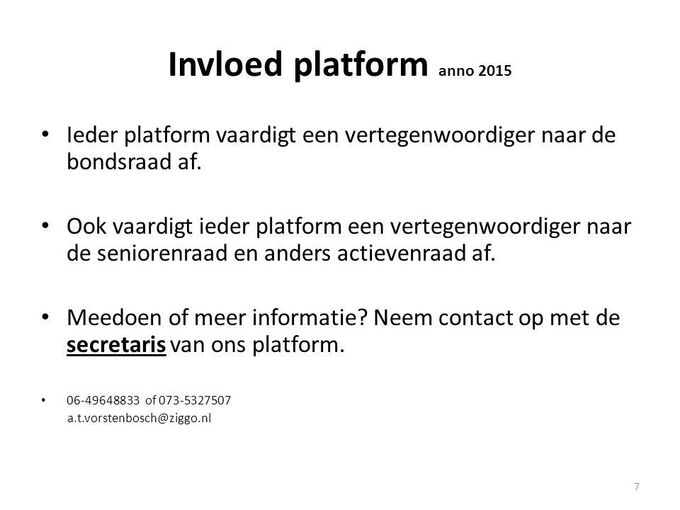 Invloed platform anno 2015 Ieder platform vaardigt een vertegenwoordiger naar de bondsraad af. Ook vaardigt ieder platform een vertegenwoordiger naar