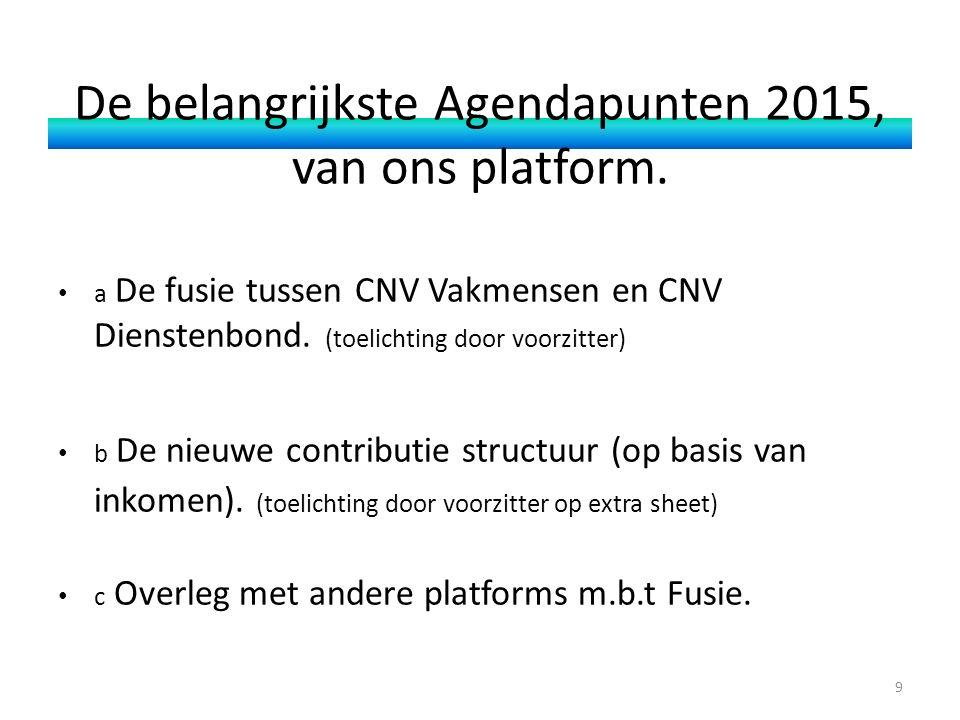 De belangrijkste Agendapunten 2015, van ons platform. a De fusie tussen CNV Vakmensen en CNV Dienstenbond. (toelichting door voorzitter) b De nieuwe c