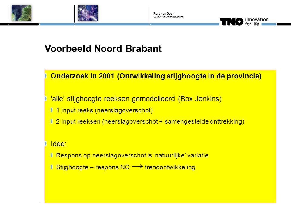 Voorbeeld Noord Brabant Onderzoek in 2001 (Ontwikkeling stijghoogte in de provincie) 'alle' stijghoogte reeksen gemodelleerd (Box Jenkins) 1 input reeks (neerslagoverschot) 2 input reeksen (neerslagoverschot + samengestelde onttrekking) Idee: Respons op neerslagoverschot is 'natuurlijke' variatie Stijghoogte – respons NO → trendontwikkeling Frans van Geer Valide tijdreeksmodellen