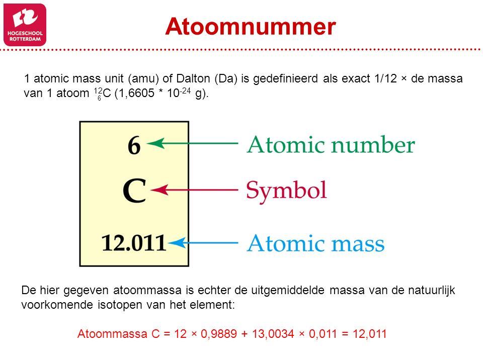 1 atomic mass unit (amu) of Dalton (Da) is gedefinieerd als exact 1/12 × de massa van 1 atoom 12 C (1,6605 * 10 -24 g). 6 De hier gegeven atoommassa i