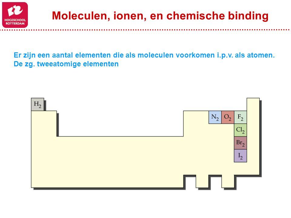 Er zijn een aantal elementen die als moleculen voorkomen i.p.v. als atomen. De zg. tweeatomige elementen Moleculen, ionen, en chemische binding
