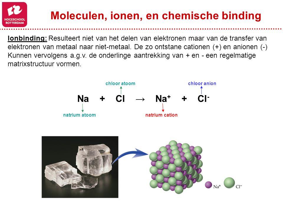 Ionbinding: Resulteert niet van het delen van elektronen maar van de transfer van elektronen van metaal naar niet-metaal. De zo ontstane cationen (+)