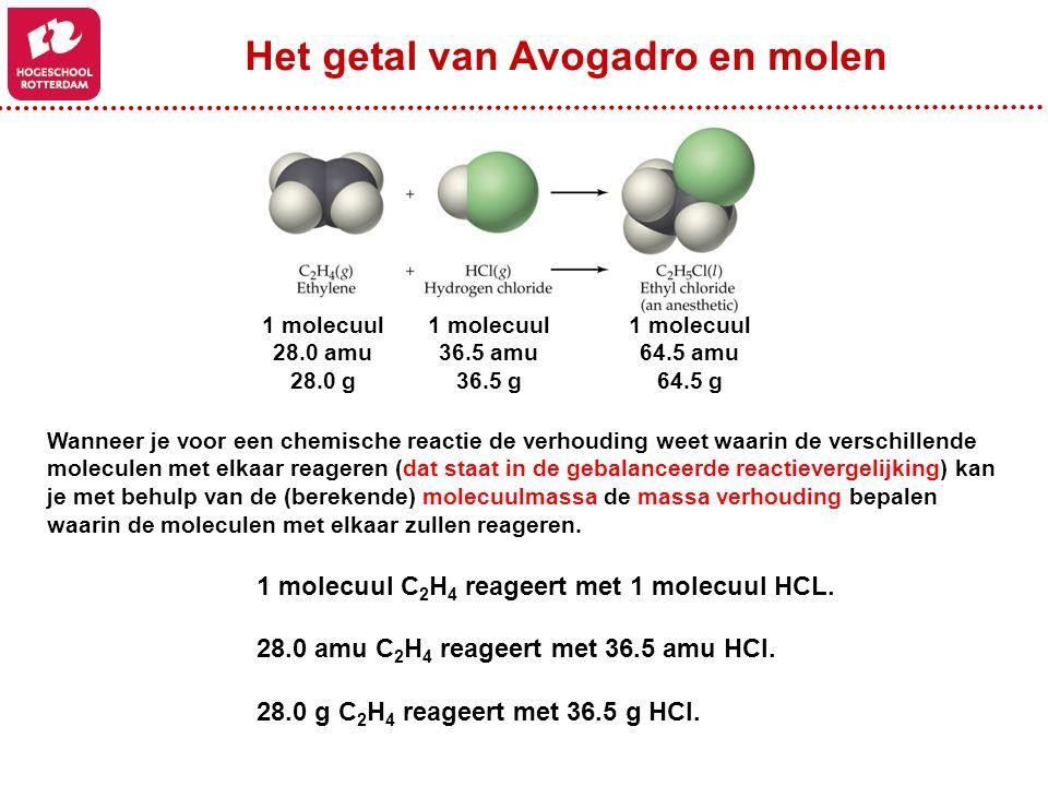 Wanneer je voor een chemische reactie de verhouding weet waarin de verschillende moleculen met elkaar reageren (dat staat in de gebalanceerde reactiev