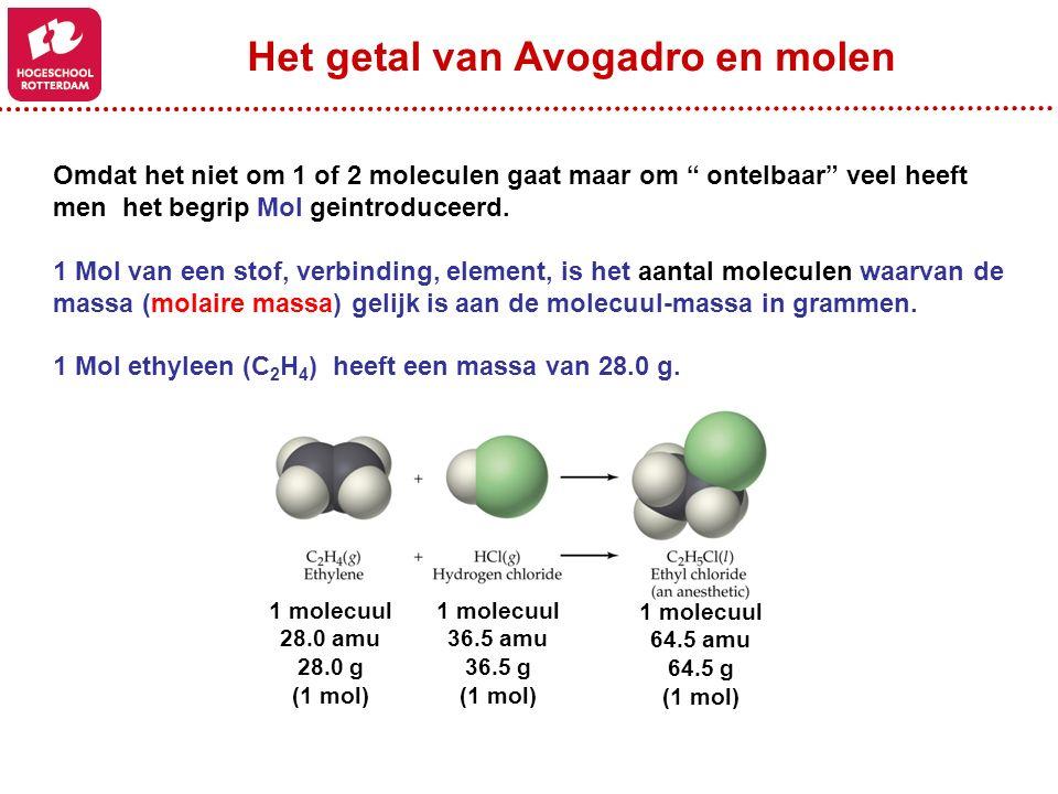 """Omdat het niet om 1 of 2 moleculen gaat maar om """" ontelbaar"""" veel heeft men het begrip Mol geintroduceerd. 1 Mol van een stof, verbinding, element, is"""