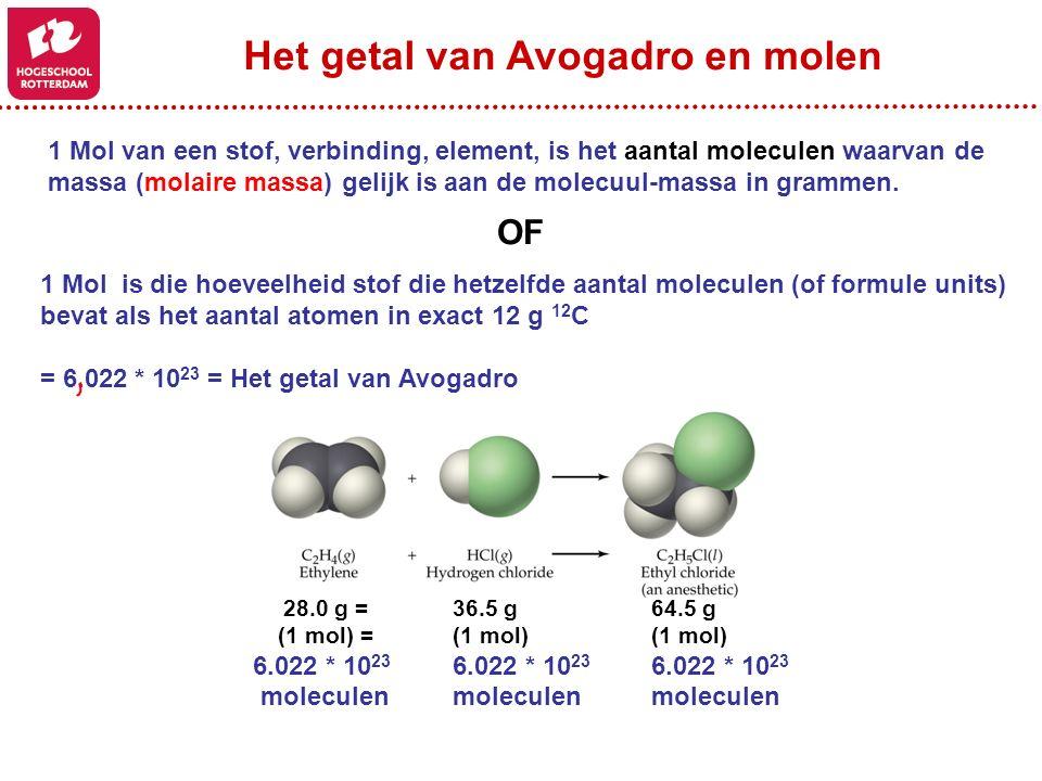 1 Mol van een stof, verbinding, element, is het aantal moleculen waarvan de massa (molaire massa) gelijk is aan de molecuul-massa in grammen. 1 Mol is