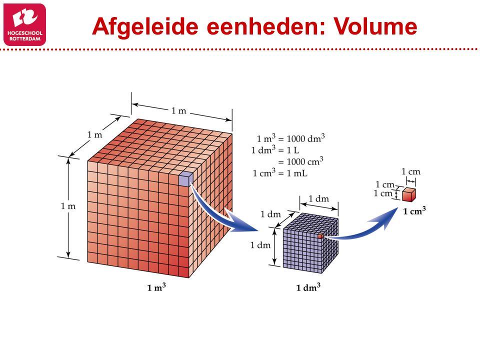 Afgeleide eenheden: Dichtheid Dichtheid (g/cm 3 ) = Massa (g) Volume (cm 3 ) Volume (cm 3 ) = Massa (g) Dichtheid (g/cm 3 ) Massa (g) = Dichtheid (g/cm 3 ) * Volume (cm 3 )