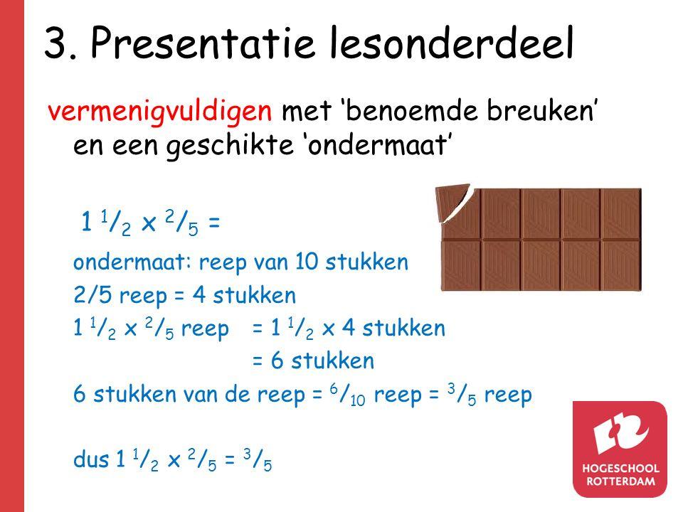 3. Presentatie lesonderdeel vermenigvuldigen met 'benoemde breuken' en een geschikte 'ondermaat' 1 1 / 2 x 2 / 5 = ondermaat: reep van 10 stukken 2/5