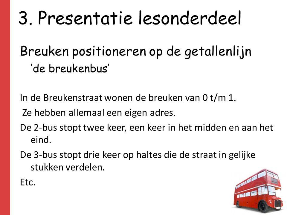 3. Presentatie lesonderdeel Breuken positioneren op de getallenlijn 'de breukenbus' In de Breukenstraat wonen de breuken van 0 t/m 1. Ze hebben allema