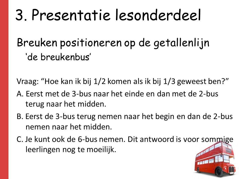 """3. Presentatie lesonderdeel Breuken positioneren op de getallenlijn 'de breukenbus' Vraag: """"Hoe kan ik bij 1/2 komen als ik bij 1/3 geweest ben?"""" A. E"""