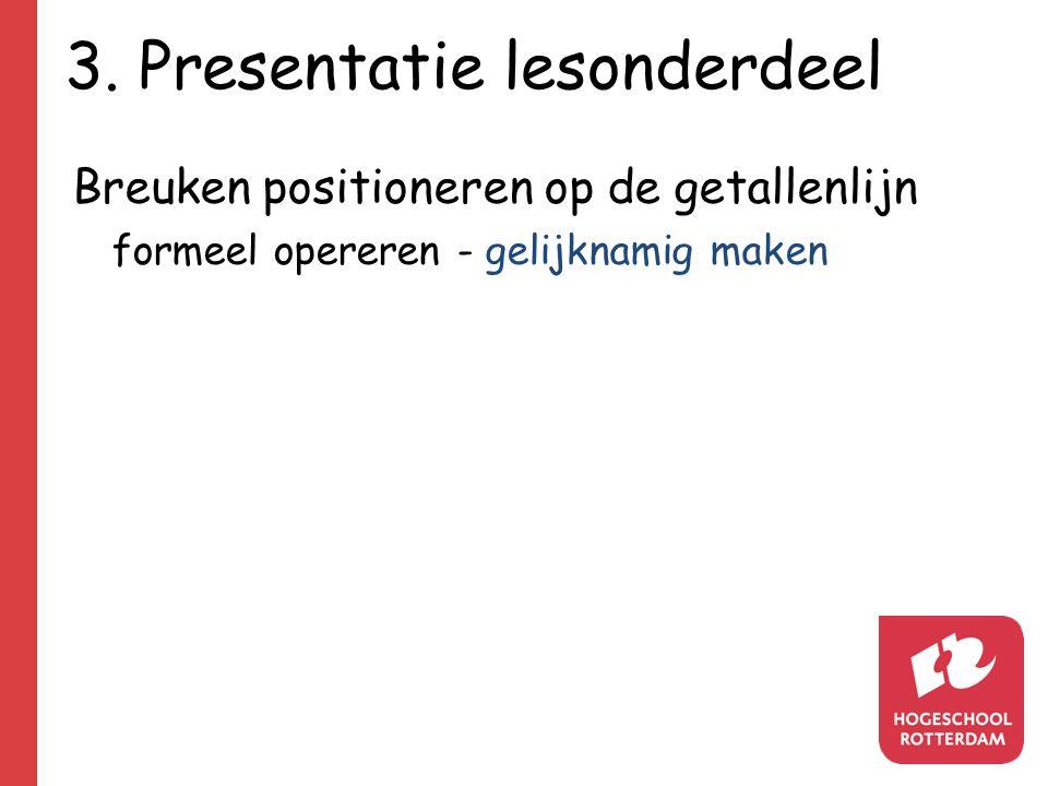 3. Presentatie lesonderdeel Breuken positioneren op de getallenlijn formeel opereren - gelijknamig maken