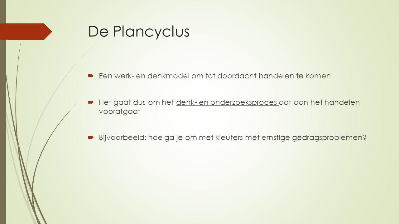 De Plancyclus  Een werk- en denkmodel om tot doordacht handelen te komen  Het gaat dus om het denk- en onderzoeksproces dat aan het handelen voorafg