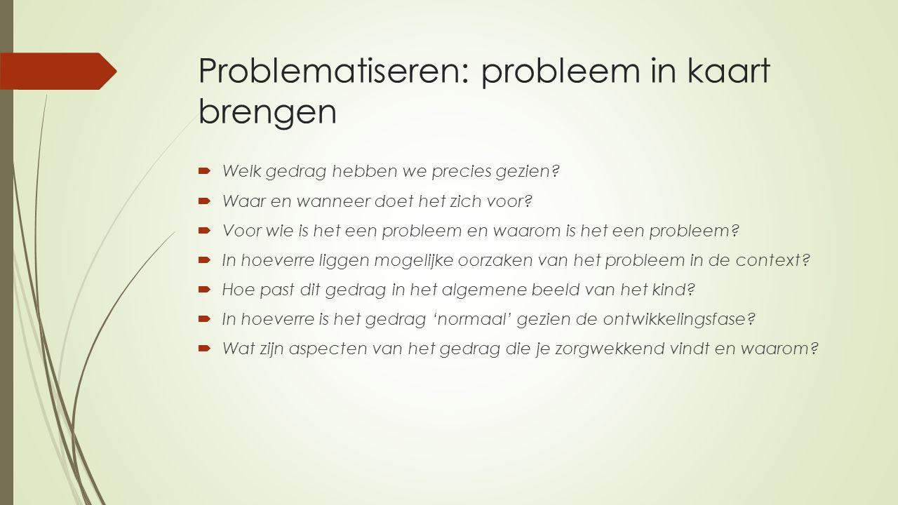Problematiseren: probleem in kaart brengen  Welk gedrag hebben we precies gezien?  Waar en wanneer doet het zich voor?  Voor wie is het een problee
