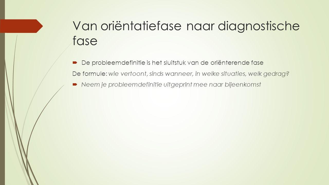 Van oriëntatiefase naar diagnostische fase  De probleemdefinitie is het sluitstuk van de oriënterende fase De formule: wie vertoont, sinds wanneer, i
