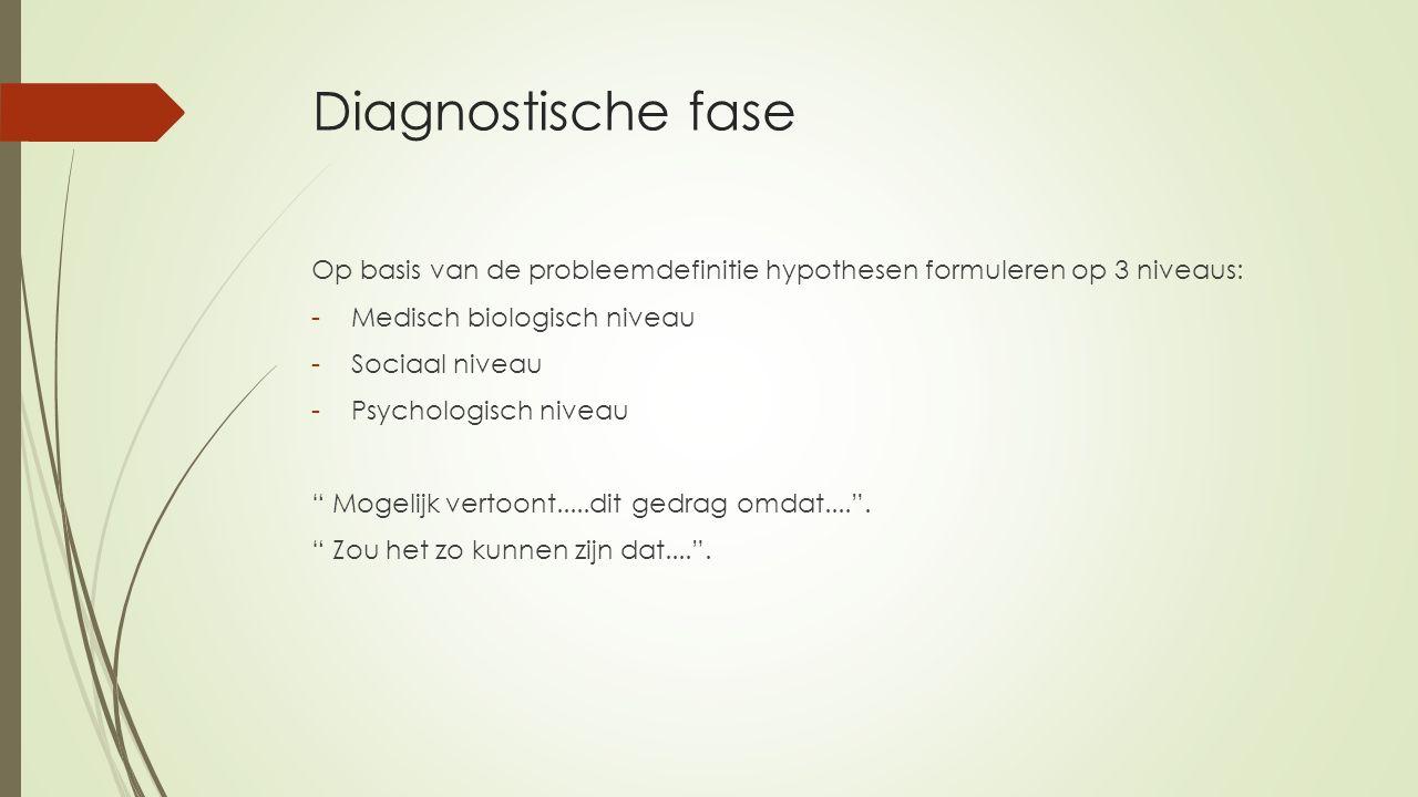 Diagnostische fase Op basis van de probleemdefinitie hypothesen formuleren op 3 niveaus: -Medisch biologisch niveau -Sociaal niveau -Psychologisch niv