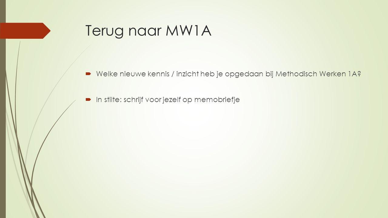 Terug naar MW1A  Welke nieuwe kennis / inzicht heb je opgedaan bij Methodisch Werken 1A?  In stilte: schrijf voor jezelf op memobriefje