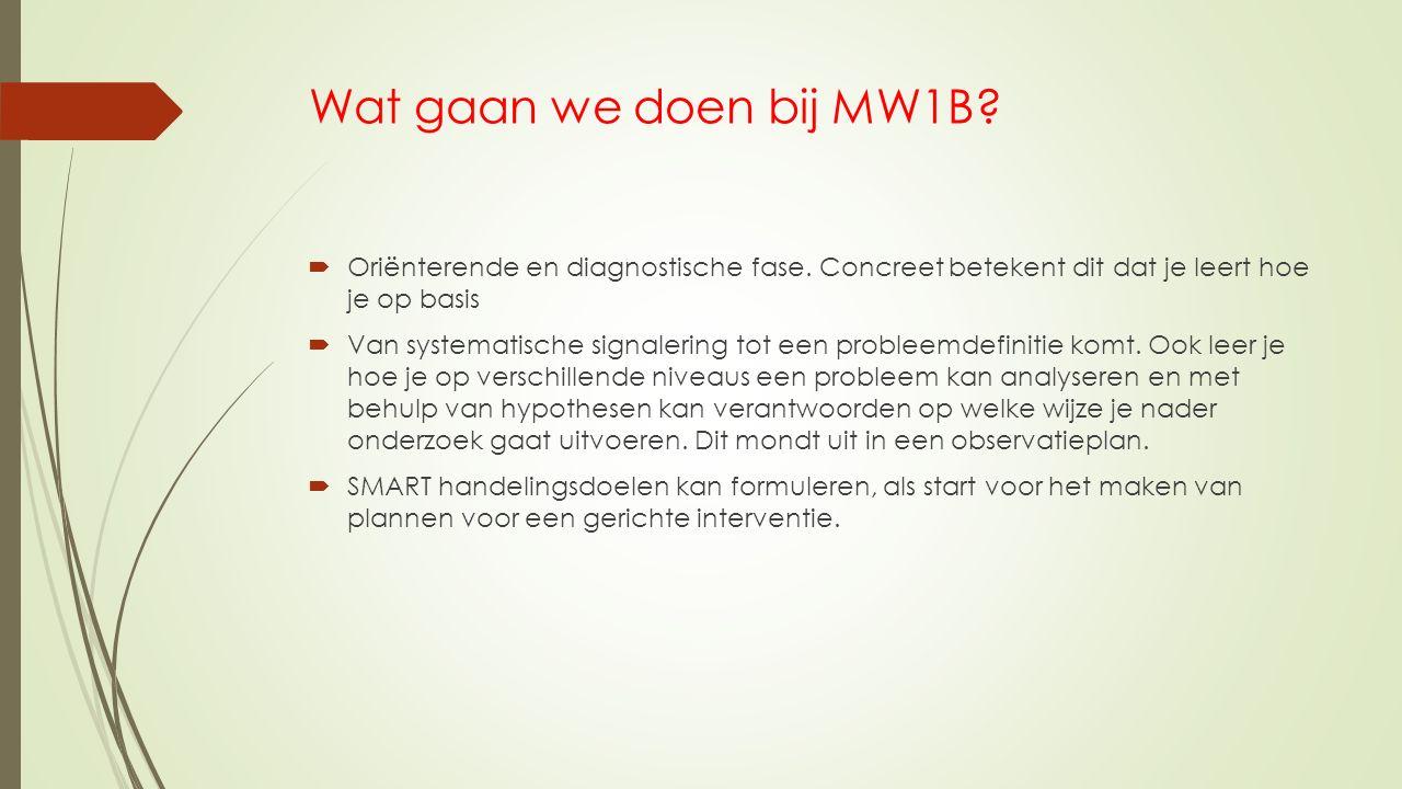 Wat gaan we doen bij MW1B?  Oriënterende en diagnostische fase. Concreet betekent dit dat je leert hoe je op basis  Van systematische signalering to