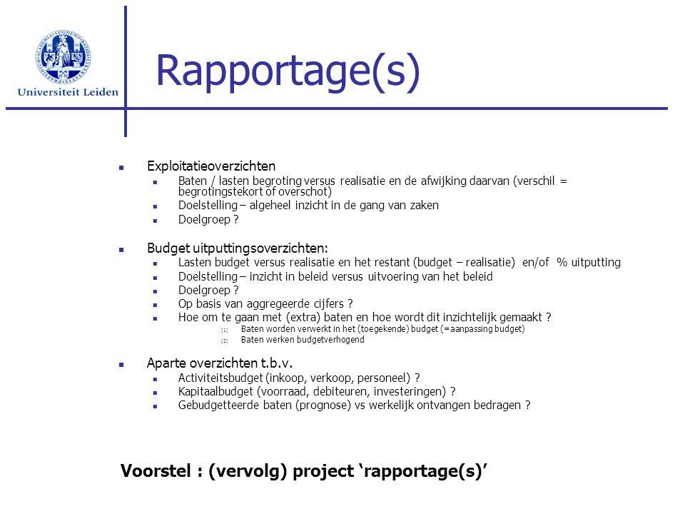 Rapportage(s) Exploitatieoverzichten Baten / lasten begroting versus realisatie en de afwijking daarvan (verschil = begrotingstekort of overschot) Doe