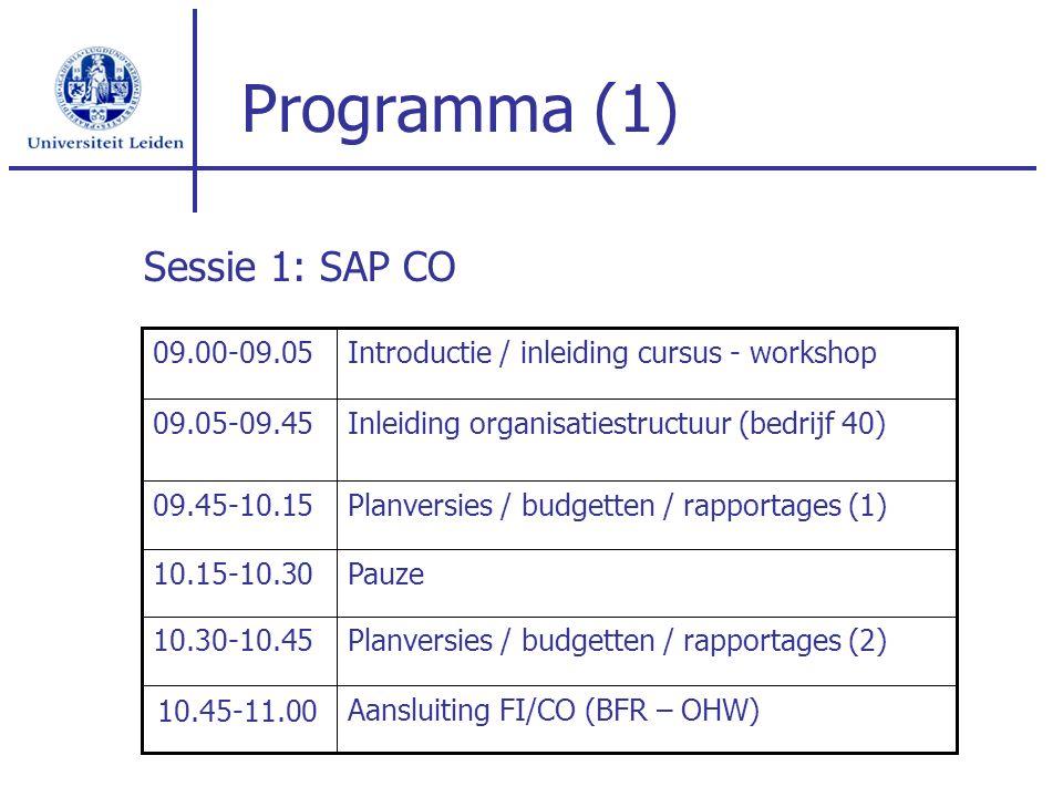 Programma (1) Sessie 1: SAP CO Aansluiting FI/CO (BFR – OHW) Pauze10.15-10.30 Planversies / budgetten / rapportages (1)09.45-10.15 Inleiding organisat