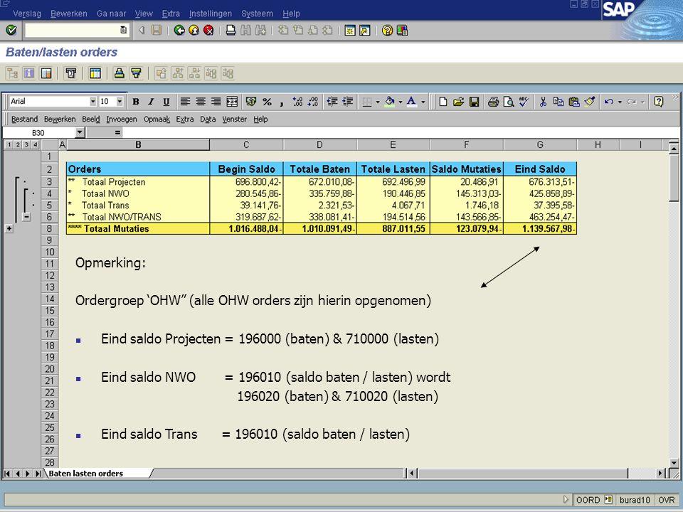 """Opmerking: Ordergroep 'OHW"""" (alle OHW orders zijn hierin opgenomen) Eind saldo Projecten = 196000 (baten) & 710000 (lasten) Eind saldo NWO = 196010 (s"""