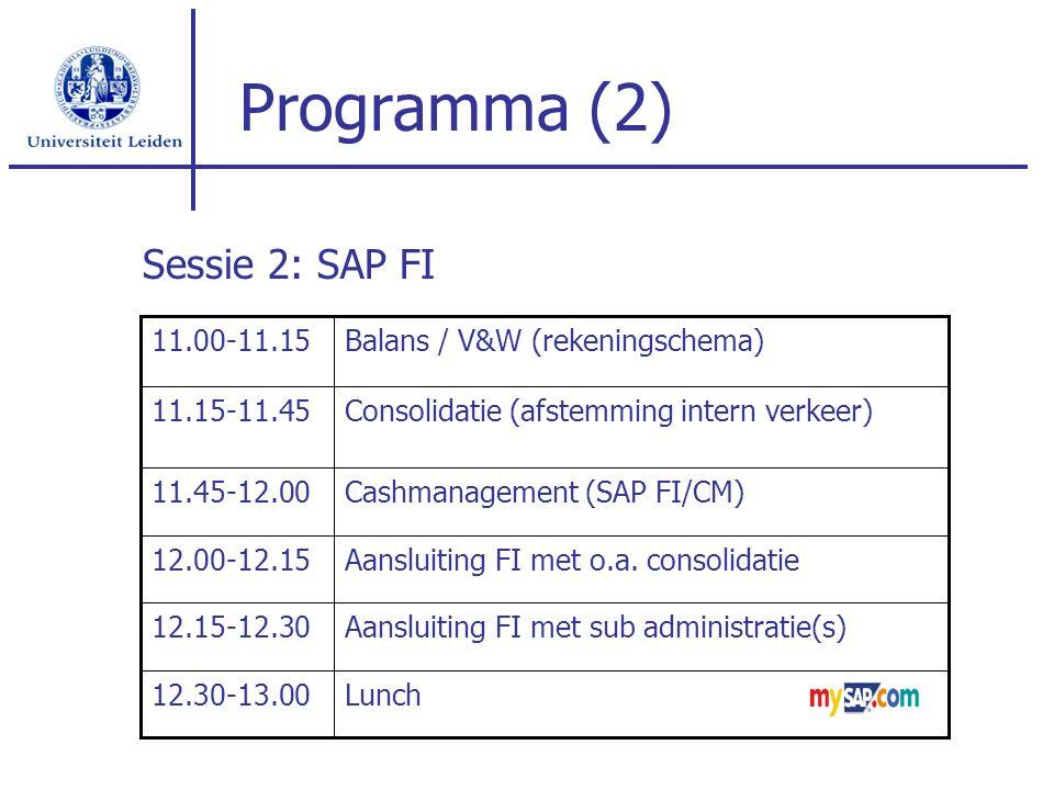 Programma (2) Lunch12.30-13.00 Aansluiting FI met sub administratie(s)12.15-12.30 Aansluiting FI met o.a. consolidatie12.00-12.15 Cashmanagement (SAP