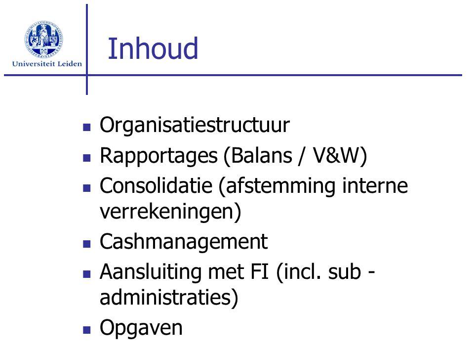 Inhoud Organisatiestructuur Rapportages (Balans / V&W) Consolidatie (afstemming interne verrekeningen) Cashmanagement Aansluiting met FI (incl. sub -