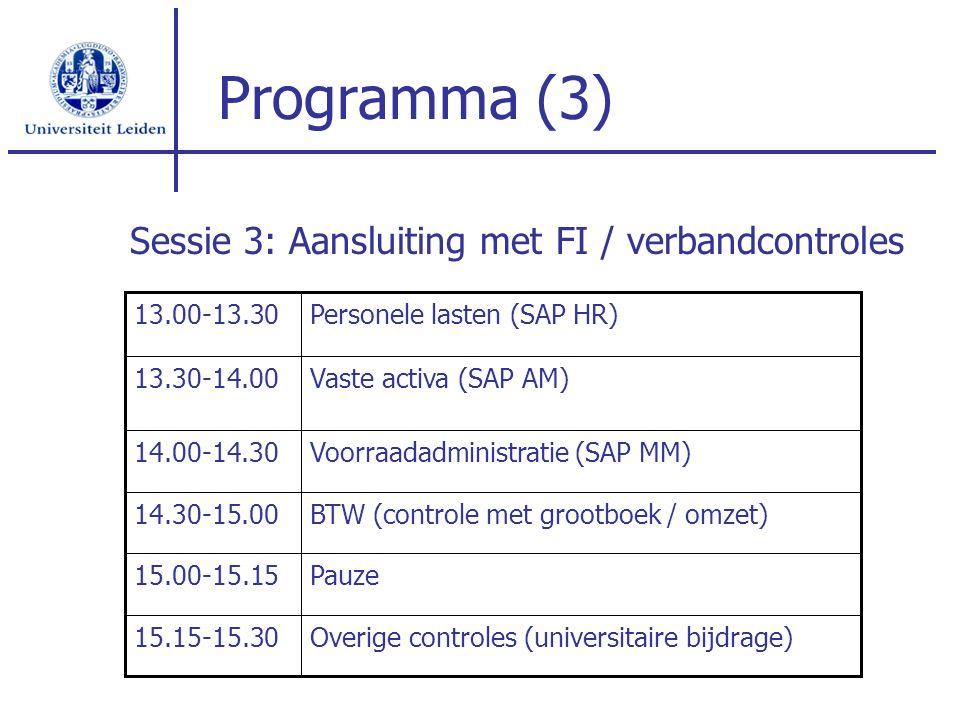 Programma (3) Overige controles (universitaire bijdrage)15.15-15.30 Pauze15.00-15.15 BTW (controle met grootboek / omzet)14.30-15.00 Voorraadadministr