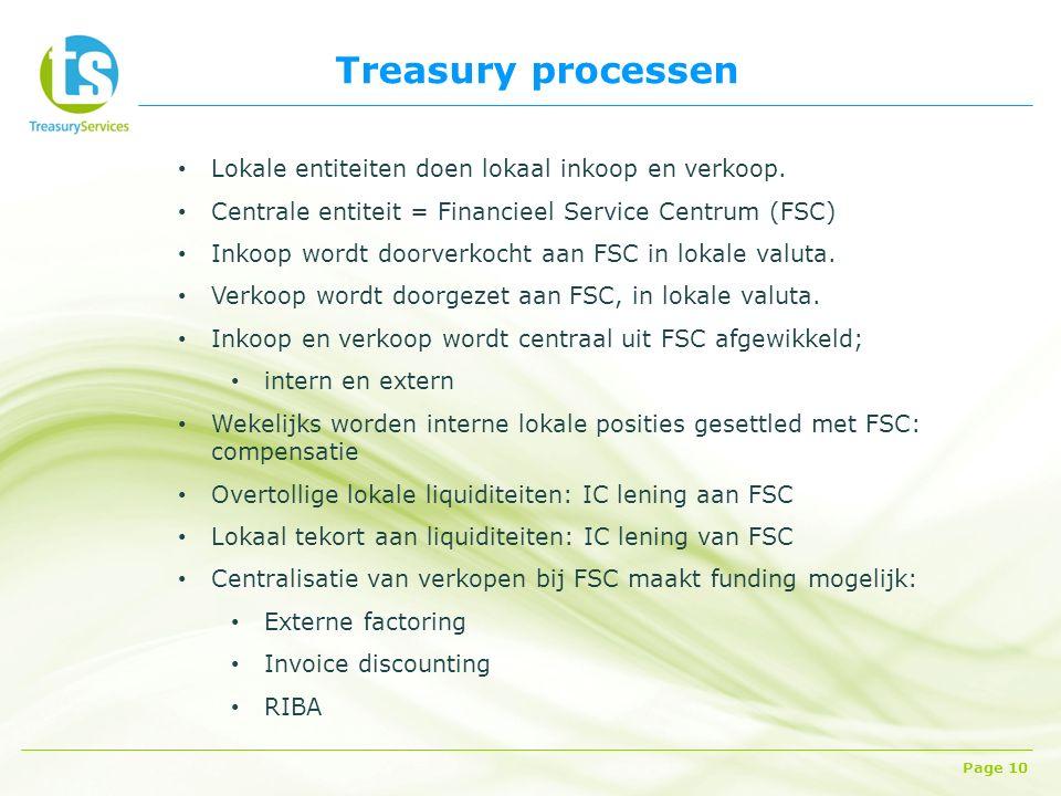Treasury processen Page 10 Lokale entiteiten doen lokaal inkoop en verkoop.