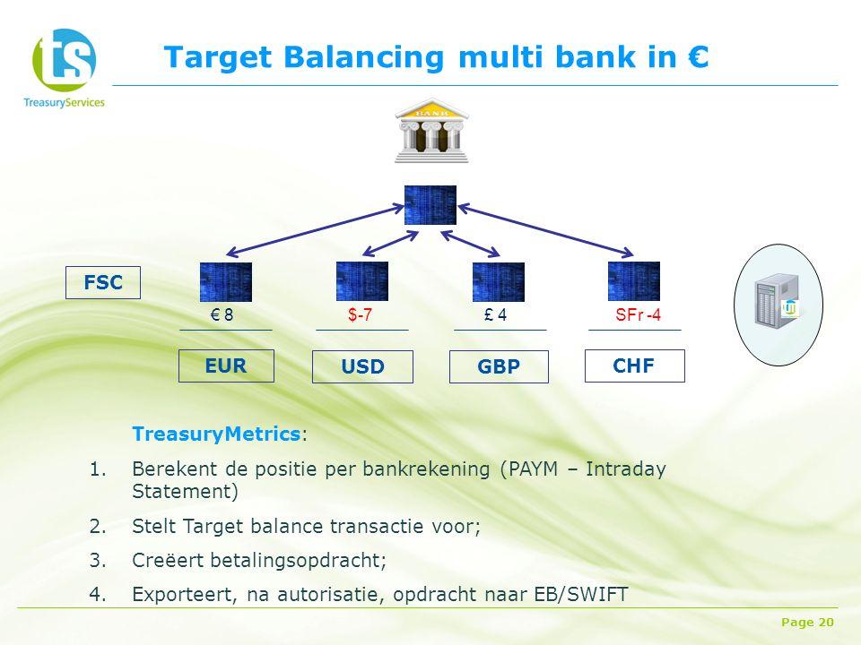 Target Balancing multi bank in € Page 20 FSC CHF EUR GBP USD TreasuryMetrics: 1.Berekent de positie per bankrekening (PAYM – Intraday Statement) 2.Stelt Target balance transactie voor; 3.Creëert betalingsopdracht; 4.Exporteert, na autorisatie, opdracht naar EB/SWIFT € 8SFr -4 £ 4$-7