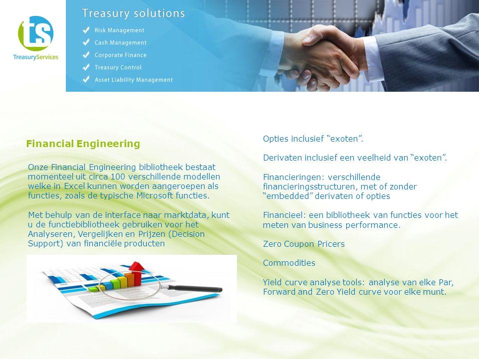 Financial Engineering Onze Financial Engineering bibliotheek bestaat momenteel uit circa 100 verschillende modellen welke in Excel kunnen worden aangeroepen als functies, zoals de typische Microsoft functies.