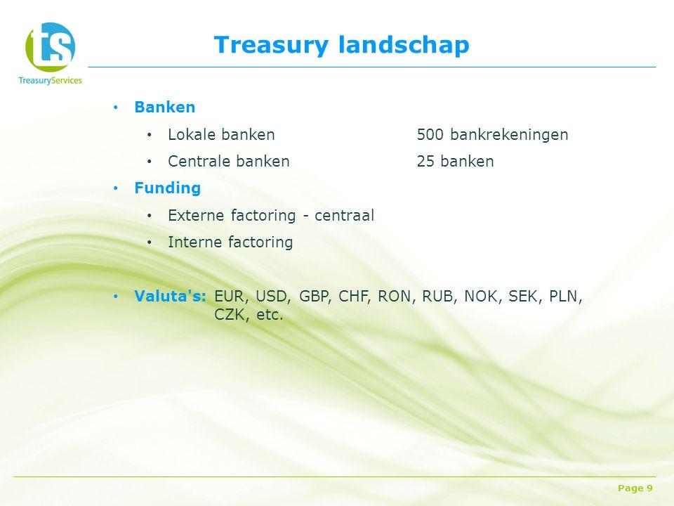 Treasury landschap Page 9 Banken Lokale banken500 bankrekeningen Centrale banken25 banken Funding Externe factoring - centraal Interne factoring Valuta s: EUR, USD, GBP, CHF, RON, RUB, NOK, SEK, PLN, CZK, etc.