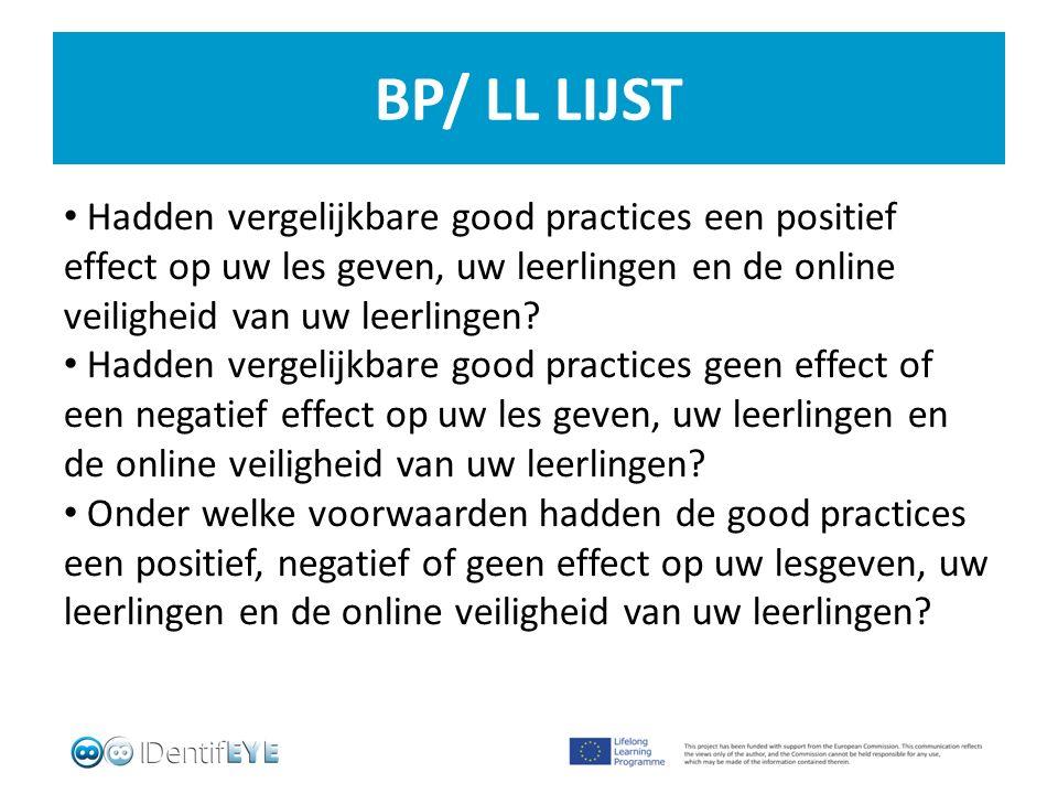 BP/ LL LIJST Hadden vergelijkbare good practices een positief effect op uw les geven, uw leerlingen en de online veiligheid van uw leerlingen.