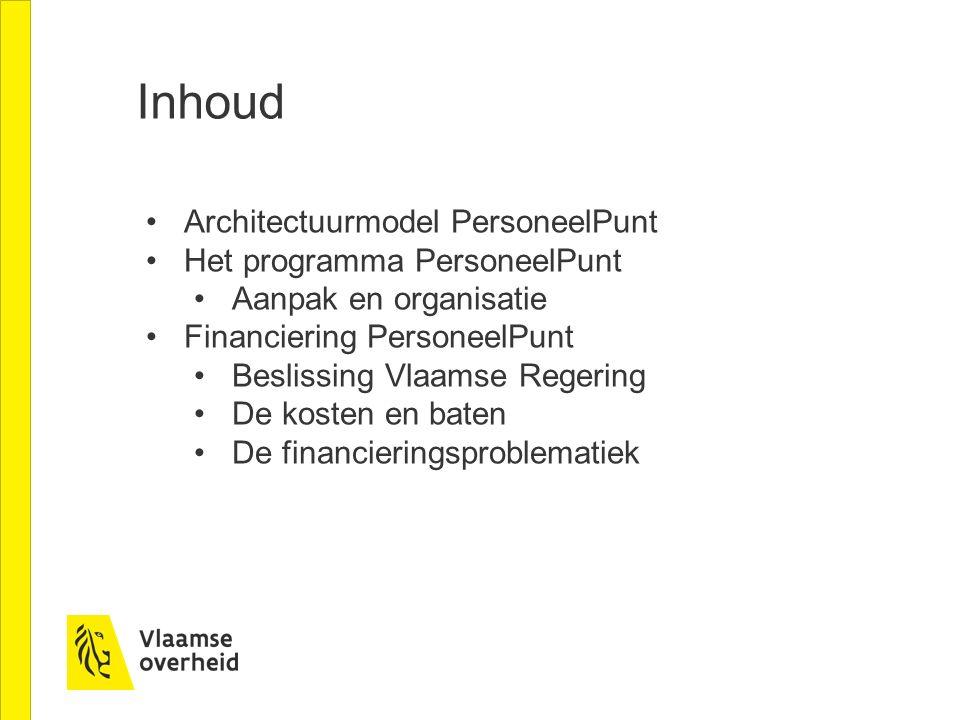Inhoud Architectuurmodel PersoneelPunt Het programma PersoneelPunt Aanpak en organisatie Financiering PersoneelPunt Beslissing Vlaamse Regering De kosten en baten De financieringsproblematiek