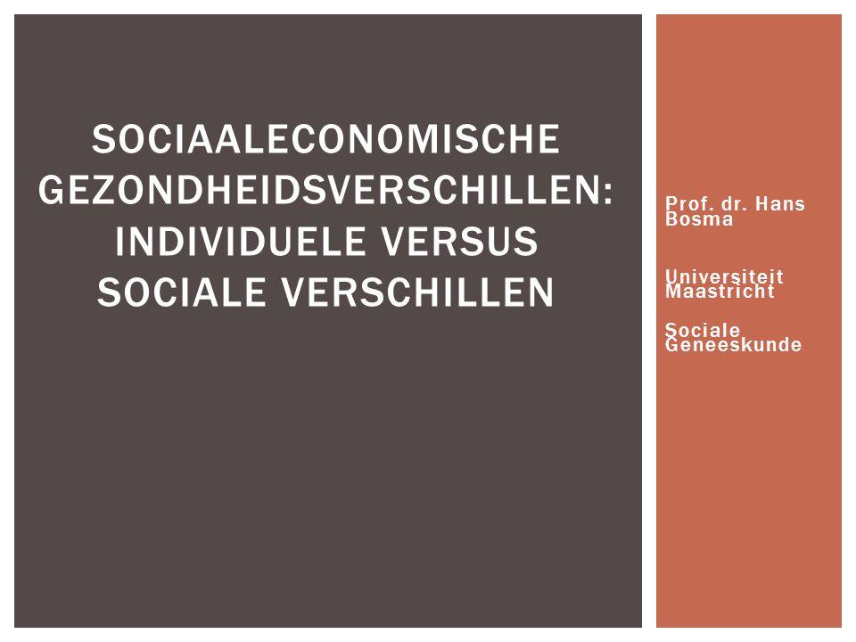 Prof. dr. Hans Bosma Universiteit Maastricht Sociale Geneeskunde SOCIAALECONOMISCHE GEZONDHEIDSVERSCHILLEN: INDIVIDUELE VERSUS SOCIALE VERSCHILLEN