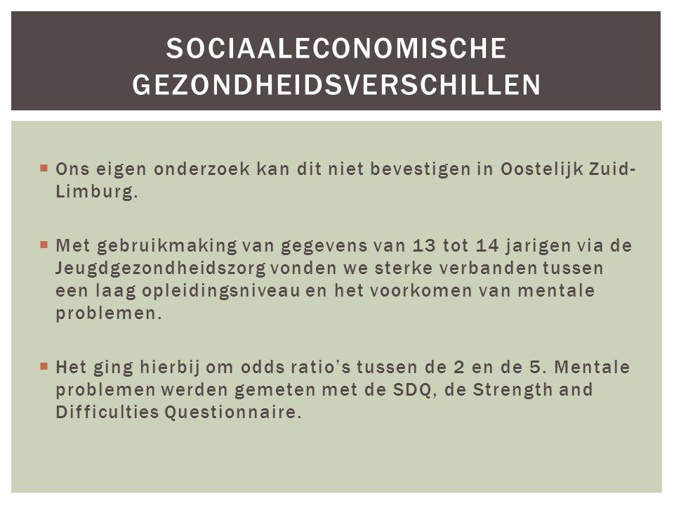  Ons eigen onderzoek kan dit niet bevestigen in Oostelijk Zuid- Limburg.  Met gebruikmaking van gegevens van 13 tot 14 jarigen via de Jeugdgezondhei